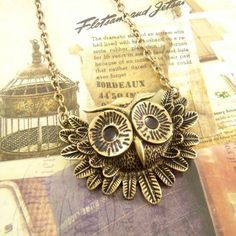 Vintage Owl Necklace Long Chain Necklace Just 58¢ Shipped!