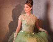 Vintage-50's-Minty Green-Lace--Tulle-Formal-Prom-Party-Gown-S