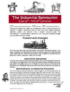 Industrial Revolution Activity and Game Board! $