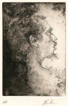 Ryan Bongers / Man in Profile / Etching and aquatint / Potrait / People / Intaglio / Printmaking / Drawing / Art / Decor