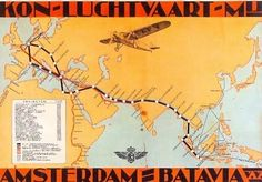This poster by Jan Lavies from 1932 shows the route and stops KLM flew in those days to reach the Dutch Indies.