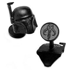 Star Wars Matte Black 3D Boba Fett Helmet Cufflinks