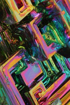 Bismuth close up ~ Minerals And Gemstones, Rocks And Minerals, Instalation Art, Gemstone Brooch, Cool Rocks, Rocks And Gems, Button Crafts, Stones And Crystals, Gem Stones