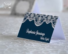 Lace Place Name Cards Template  INSTANT DOWNLOAD  by ScriptAndLily