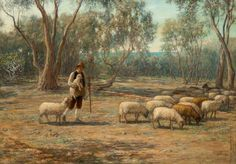 Shepherd and Sheep  by Hugh Cameron       Date painted: 1882