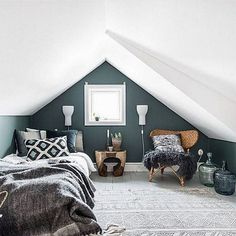 Do you know that attic can be used not only as a storage room but also as a comfy bedroom with hundreds of amazing designs? If you prefer a quiet, calm as well as a cozy bedroom, then attic bedroom… Continue Reading → Small Loft Bedroom, Attic Bedroom Designs, Loft Room, Attic Design, Stylish Bedroom, Cozy Bedroom, Modern Bedroom, Bedroom Ideas, Master Bedroom