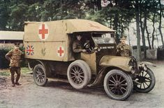 The volume includes some of the most important developments of the war including the mobilisation of 1914 to the victory celebrations in Paris, London and New York in 1919. Picture shows a British ambulance in 1914