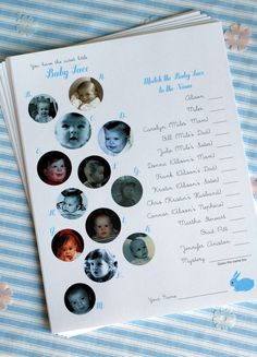 I know this would be kinda hard to collect the photos but for the immediate family members a match up...fun idea!