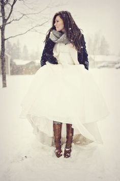 """ it was june when masses of snow fell but that didn't stop her from looking incredible a bride was amazing of leather boots , scarfs and cardigans """