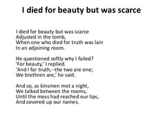 I died for Beauty