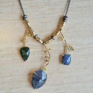 One of a kind sapphire and emerald necklace with handmade and hand textured beads in 18k gold vermeil on adjustable oxidized sterling silver chain by Q Evon.