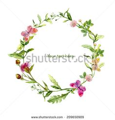 Wreath border frame with wild herbs, meadow flowers and butterflies. Watercolour - stock photo