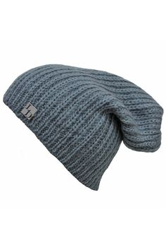 Gray Mohair Slouch Knit Beanie Cap Hat