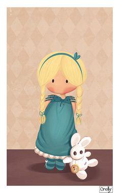 Alicia en el País de Las Maravillas. Conejo blanco de trapo con su reloj. Very sweet Alice (in Wonderland) with a soft toy white rabbit - by Orelly