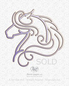 Horse graphic of a horse with a long billowing mane. Purchase by Equestrian Enterprise Inc. to print on clothing items for sale to horse lovers.