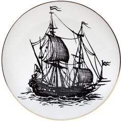 Rory Dobner Perfect Plates - Pirate Ship - Medium (€66) ❤ liked on Polyvore featuring home, home decor, ship plates, black plates, handpainted plates and black home decor