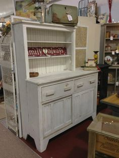 Vendor # 210, Vintage shabby chic white hutch, From Warm Springs Roosevelt house --- $525.00  --- at Rockin B Antiques- http://rockinbantiques.blogspot.com