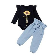 US Autumn Baby Girl Clothes Sunflower Romper Denim Pants Outfit Tracksuit Baby Girl Fall Outfits, Baby Girl Pants, Spring Outfits, Girl Outfits, Spring Clothes, Denim Romper, Ruffle Romper, Denim Pants, Trouser