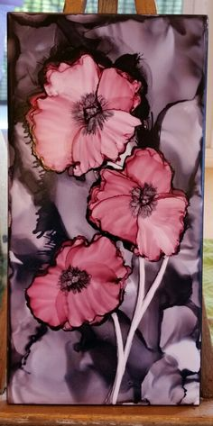 Black and red flowers in alcohol ink on 8x4 tile by Tina