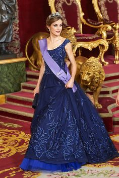 Queen Letizia of Spain durin a gala dinner at Palacio Real on July 7, 2015 in Madrid