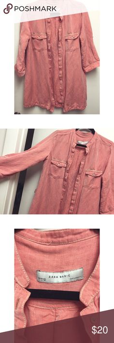 Zara utility button up shirt dress size large This Zara orange utility button up can be worn as a shirt, dress, jacket or coverup. Purchased at the Zara in Marrakech. Size large. In excellent condition Zara Tops Button Down Shirts