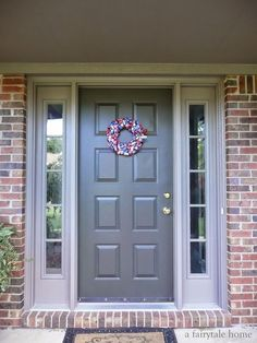 Front Door Colors Red Brick House Looking For A Front Door Color With Pink Brick Navy Front Door Brick House Front Door Colors Tan Brick House Door Paint Colors, Exterior Paint Colors For House, Front Door Colors, Paint Colors For Home, Red Paint, Orange Brick Houses, Dix Blue, Red Brick Exteriors, House Paint Color Combination