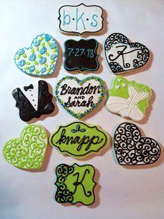 Wedding Cookies  on Etsy, $48.00 #decoratedcookie #royalicing #weddingcookie