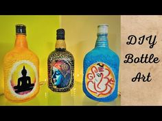 Upcycled Crafts, Diy And Crafts, Arts And Crafts, Bottle Painting, Bottle Art, Old Monk, Dark Art Drawings, Diy Planters, Easy Paintings