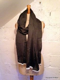 Charcoal Grey 100% Cotton Scarf with White Bobble Trim by TheHouseOfWyse on Etsy