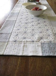 Sashiko and patchwork table runner. Be Be Bold online store for Japanese fabrics and linens. Sashiko Embroidery, Japanese Embroidery, Silk Ribbon Embroidery, Embroidery Stitches, Simple Embroidery, Flower Embroidery, Embroidered Flowers, Embroidery Designs, Hand Embroidery Patterns