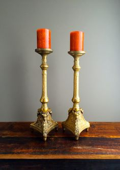 Vintage French Cast Brass 18 Candle Holders by HoneyBeeHillVintage