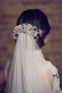 Hydrangea Pins from Cherished's Nature's Diadem Collection Clustered Around Silk Veil by Sally Lacock