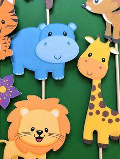 Toppers de cupcake animales selva, toppers de animales de zoológico, toppers de animales salvajes, selva gimnasio, toppers de mono, jirafa. hipopótamo, ciervo, cebra, León, serpiente Estas lindo y amable busca primeros animales de la selva y el zoológico están perfectos para fiesta de