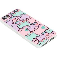 Pusheen Backgrounds for Iphone Case (iPhone 5/5s white) ($15) ❤ liked on Polyvore featuring accessories, tech accessories, apple iphone cases, iphone cases, white iphone case, iphone cover case and iphone sleeve case