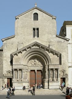 Church of St. Trophime, Arles, France. The ornamentation is focussed on the porch and the carved Christ in Majesty on the tympanum, typical of French cathedrals.