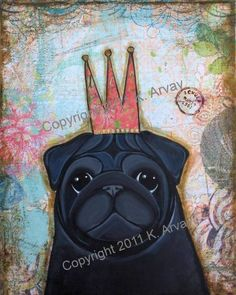 Black Pug mixed media collage print.