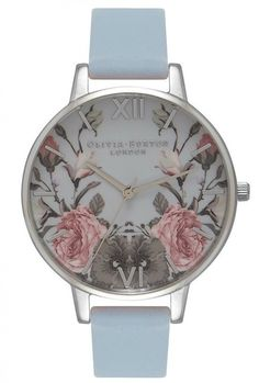 Olivia Burton Enchanted Garden Watch, In Blue Jewelry Mirror, Jewlery, Silver Jewelry, Retro Watches, Women's Watches, Grey Watch, Enchanted Garden, Stylish Watches, Blue And Silver