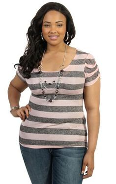 plus size pink tunic top with stripes and necklace