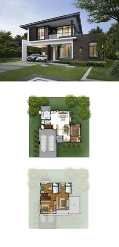 Grandeo a building a house, modern house plans, dream house plans, small house Dream House Plans, Modern House Plans, Modern House Design, House Floor Plans, Beautiful Small Homes, Facade House, House Layouts, Bungalows, Exterior Design