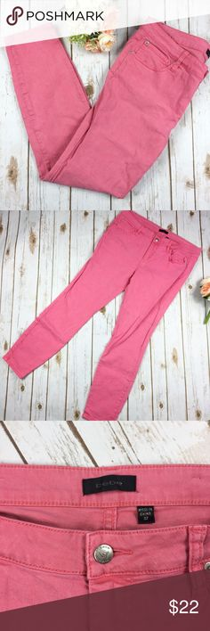 """Bebe Salmon Pink Skinny Jeans Bebe Salmon Pink Skinny Jeans.  Slight pulling on top of jeans, could be removed, see last photo.  Offers welcome.  Super cute for spring, light faded Salmon Pink color.  Measurements (taken lying flat): 19"""" waist 9.5"""" rise 29.5"""" inseam 11"""" leg opening  No Trades bebe Jeans Skinny"""