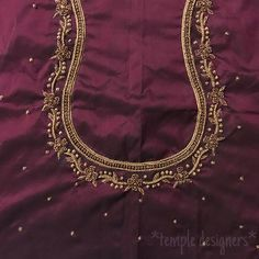 Traditional brown for a mid-aged aunt! Black Blouse Designs, Traditional Blouse Designs, Hand Work Blouse Design, Simple Blouse Designs, Stylish Blouse Design, Wedding Saree Blouse Designs, Saree Blouse Neck Designs, Dress Neck Designs, Embroidery Neck Designs