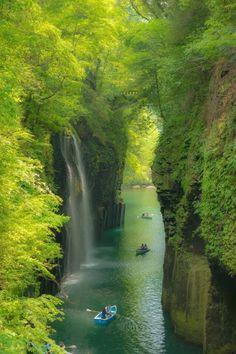 Photo of Manai Falls Fresh green waterfall in Takachiho-chō, miyazaki-ken, Japan Beautiful Waterfalls, Beautiful Landscapes, Places To Travel, Places To See, Wonderful Places, Beautiful Places, Amazing Places, Landscape Photography, Nature Photography