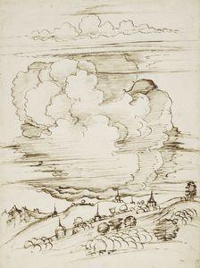 A landscape with a large cloud c.1510-20 Workshop of Leonardo da Vinci