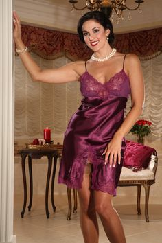 Happy Saturday! Kick off your weekend in our Cassandra Full Slip in this elegant eggplant color. http://www.secretsinlace.com/product/Severine-Full-slip/Slips_and_Camisoles