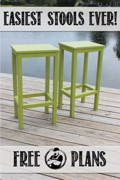 Easiest Bar Stools EVER! Free DIY Plans Rogue Engineer is part of Diy stool - Free DIY stepbystep plans to build the easiest bar stools ever No woodworking experience required Diy Bar Stools, Diy Stool, Outdoor Bar Stools, Diy Wood Projects, Furniture Projects, Wood Crafts, Diy Crafts, Furniture Online, Wood Pallet Furniture