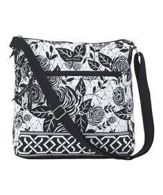 Loving this Black & White Rose Pop Crossbody Bag on #zulily! #zulilyfinds