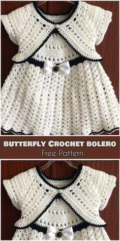 Butterfly Crochet Bolero for Babies and Kids  Free Pattern  14c4834098c