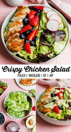 This crispy chicken salad is made with a grain free breaded chicken, fresh berries, crisp vegetables, and an avocado ranch dressing. It's paleo, and AIP compliant. Crispy Chicken Salads, Chicken Crisps, Breaded Chicken, Diet Salad Recipes, Candida Diet Recipes, Paleo Recipes, Whole 30 Salads, Whole30, Chicken Nugget Recipes