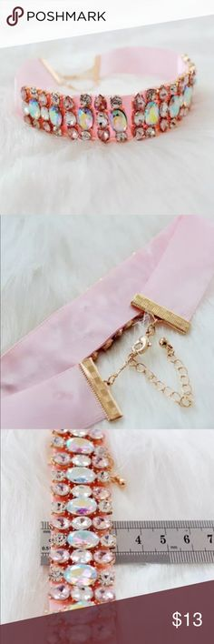 🌸 New Delicate Pink & Crystals Choker 🌸 New Delicate satin ribbon Pink & Crystals Choker. Gold tone hardware. Jewelry Necklaces