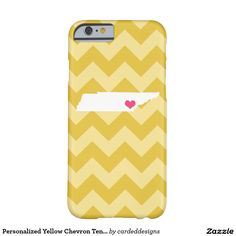 Personalized Yellow Chevron Tennessee Heart Barely There iPhone 6 Case